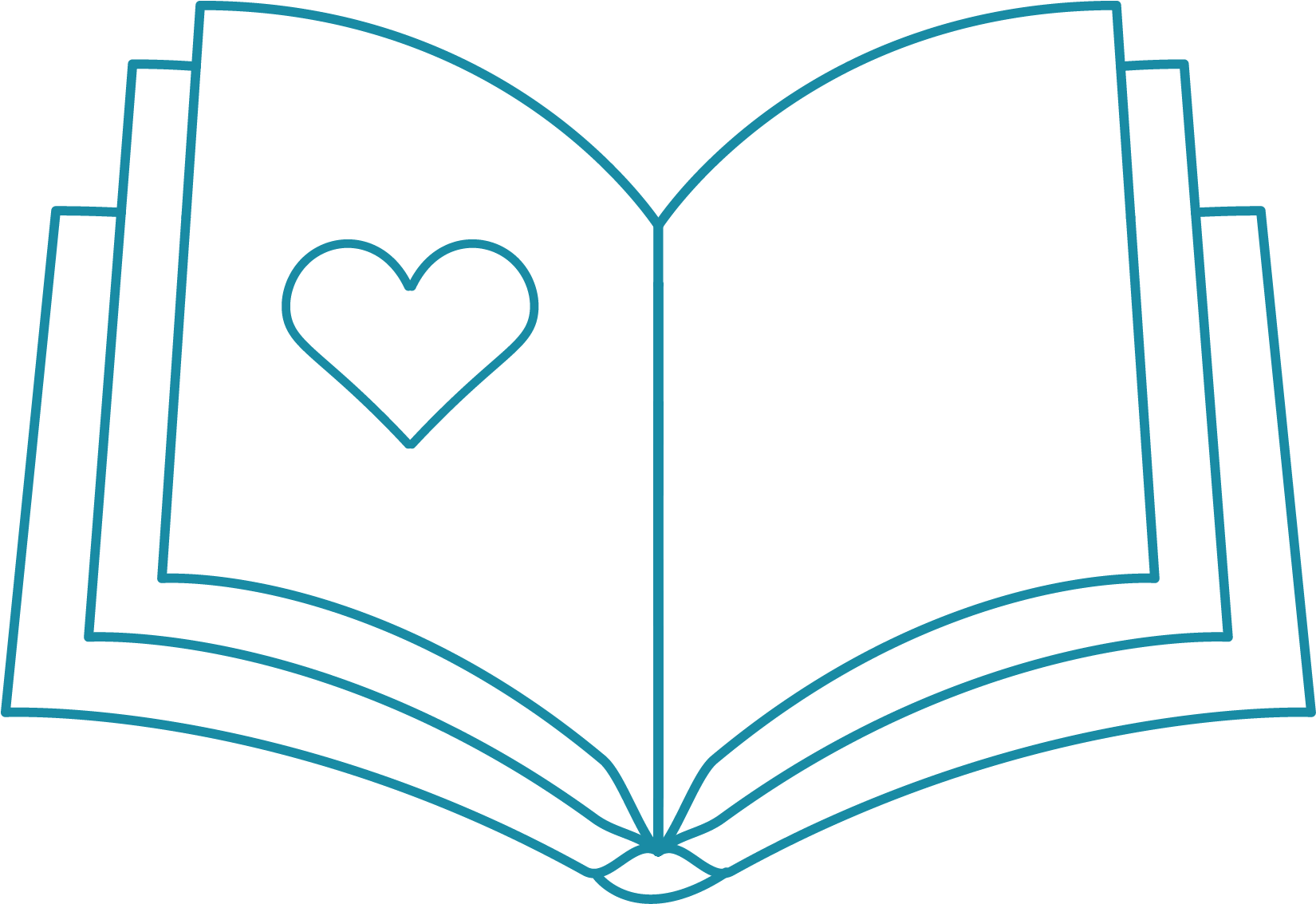Icon of book with heart